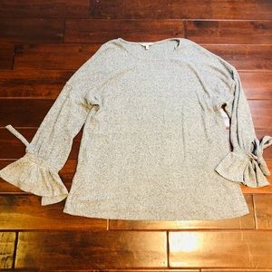 Lucky Brand Tie Sleeve Rib Pullover Top Size 2X